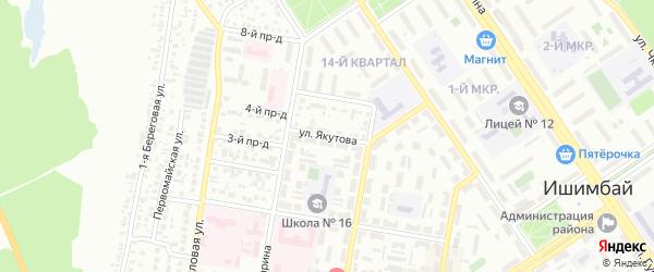 Улица Якутова на карте Ишимбая с номерами домов