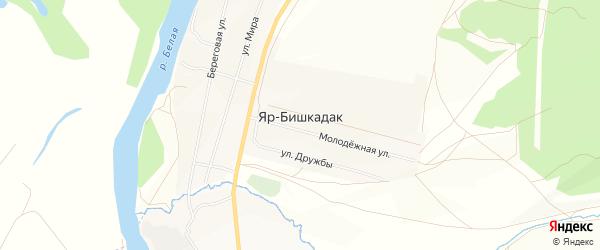 Карта деревни Яра-Бишкадака в Башкортостане с улицами и номерами домов