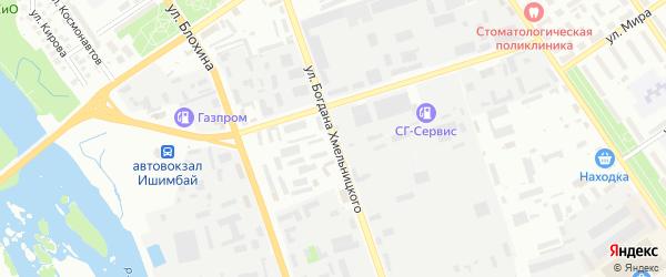 Улица Богдана Хмельницкого на карте Ишимбая с номерами домов
