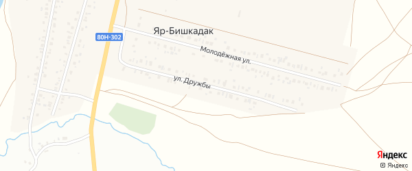 Улица Дружбы на карте деревни Яра-Бишкадака с номерами домов