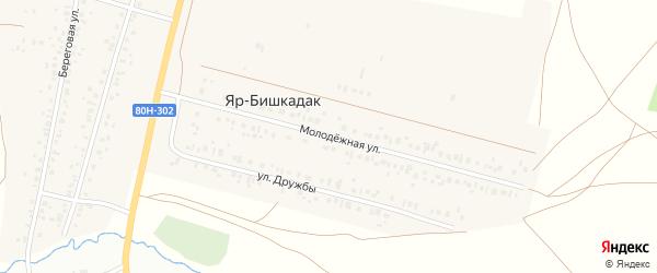 Молодёжная улица на карте деревни Яра-Бишкадака с номерами домов