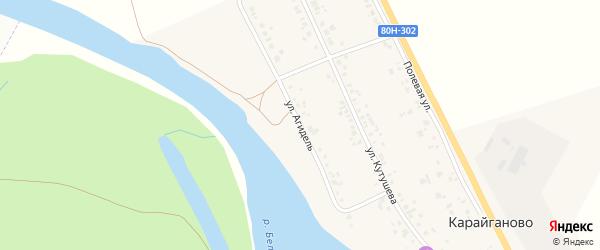 Полевая улица на карте деревни Карайганово с номерами домов