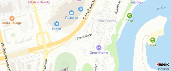 Брянская улица на карте Уфы с номерами домов