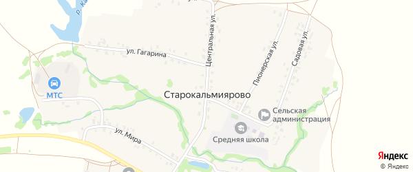 Центральная улица на карте села Старокальмиярово с номерами домов
