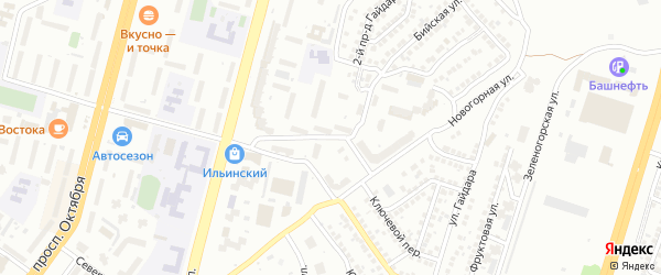 Новогорный переулок на карте Уфы с номерами домов