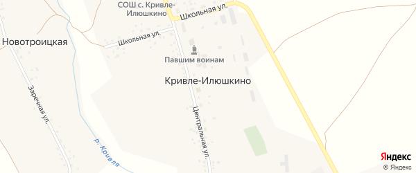 Школьная улица на карте села Кривле-Илюшкино с номерами домов