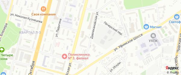 Давлекановская улица на карте Уфы с номерами домов
