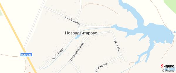 Центральная улица на карте деревни Новоадзитарово с номерами домов