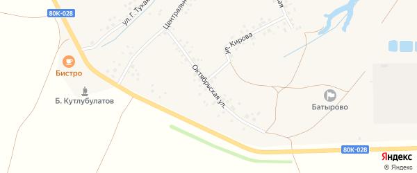 Октябрьская улица на карте деревни Новоадзитарово с номерами домов
