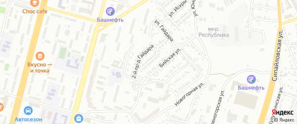 Гайдара 1-й проезд на карте Уфы с номерами домов