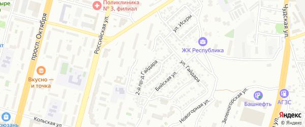 Гайдара 2-й проезд на карте Уфы с номерами домов