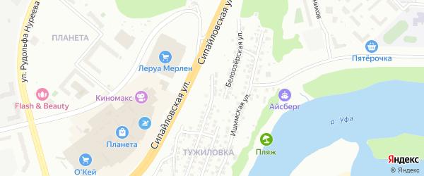 Липецкая улица на карте Уфы с номерами домов