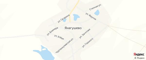 Карта села Янагушево в Башкортостане с улицами и номерами домов