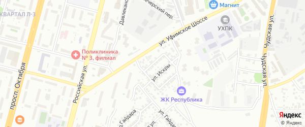 Искры 1-й проезд на карте Уфы с номерами домов