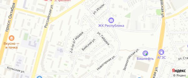 Бийская улица на карте Уфы с номерами домов