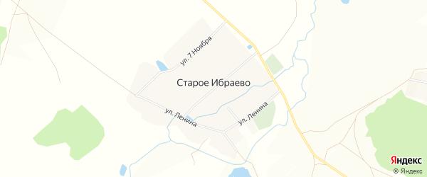 Карта деревни Старого Ибраево в Башкортостане с улицами и номерами домов