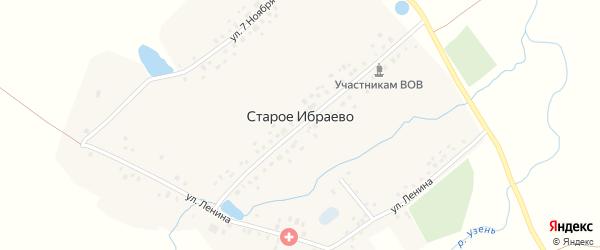 Центральная улица на карте деревни Старого Ибраево с номерами домов
