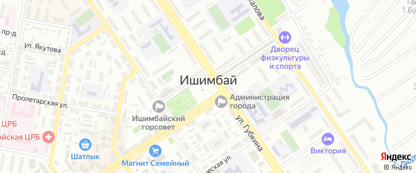 Проезд Строителей на карте Ишимбая с номерами домов
