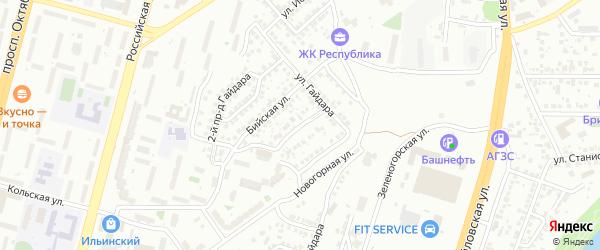 Осетинский переулок на карте Уфы с номерами домов