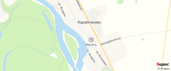 Карта деревни Карайганово в Башкортостане с улицами и номерами домов