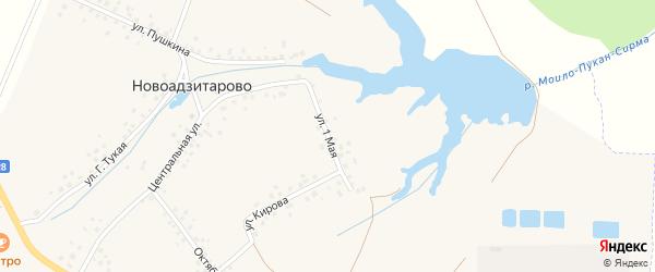 1 Мая улица на карте деревни Новоадзитарово с номерами домов