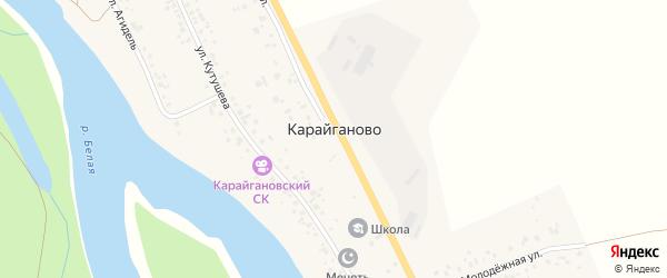Улица А.Кутушева на карте деревни Карайганово с номерами домов
