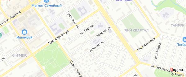 Зеленая улица на карте Ишимбая с номерами домов
