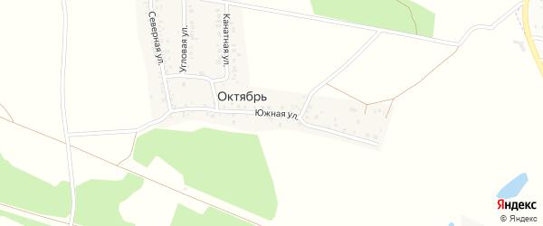 Южная улица на карте деревни Октября с номерами домов