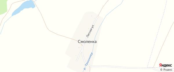 Лесная улица на карте деревни Смоленки с номерами домов