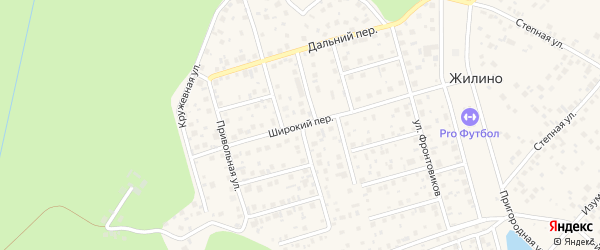 Широкий переулок на карте деревни Жилино с номерами домов