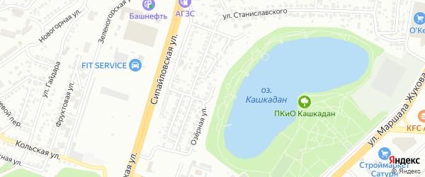 Озерная улица на карте Уфы с номерами домов