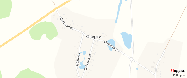 Озерная улица на карте деревни Озерки с номерами домов