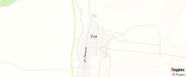 Карта деревни Узя в Башкортостане с улицами и номерами домов