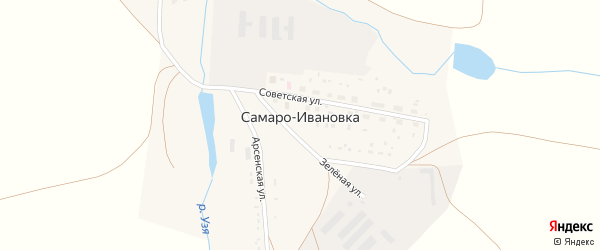 Зеленая улица на карте деревни Самаро-Ивановки с номерами домов