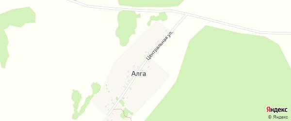 Центральная улица на карте деревни Алги с номерами домов