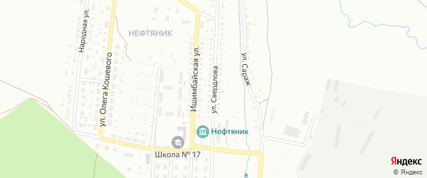 Улица Свердлова на карте Ишимбая с номерами домов
