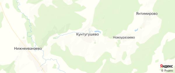 Карта Кунтугушевского сельсовета республики Башкортостан с районами, улицами и номерами домов