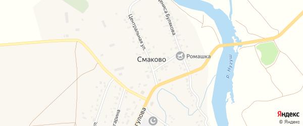 Левонабережная улица на карте деревни Смаково с номерами домов