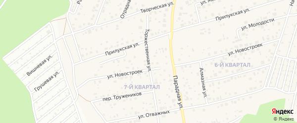 Торжественная улица на карте села Нагаево с номерами домов