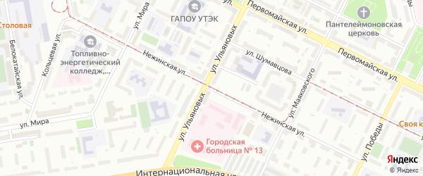 Нежинская улица на карте Уфы с номерами домов