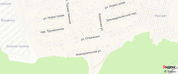 Улица Отважных на карте села Нагаево с номерами домов