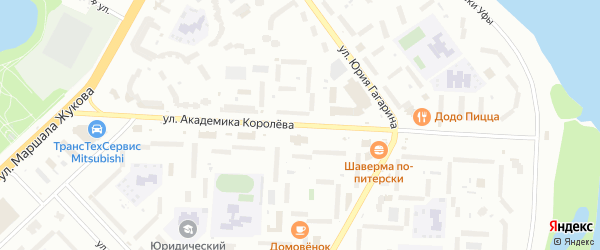 Улица Академика Королева на карте Уфы с номерами домов