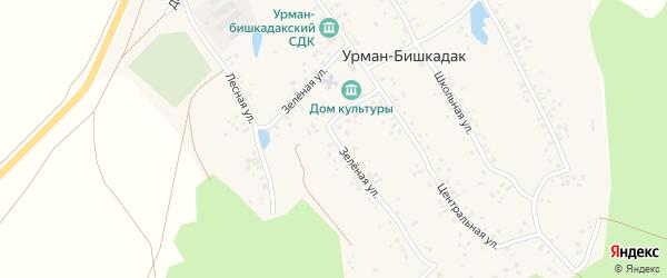Зелёная улица на карте села Урмана-Бишкадака с номерами домов