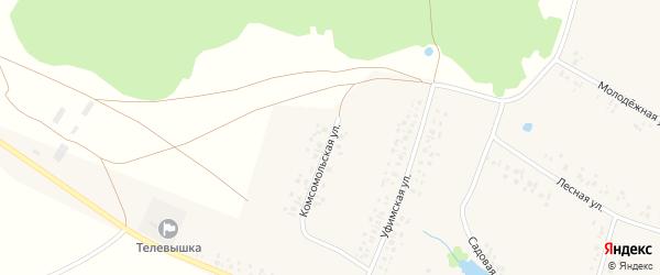 Комсомольская улица на карте деревни Новофедоровки с номерами домов