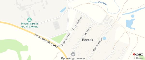 Подгорная улица на карте деревни Востока с номерами домов