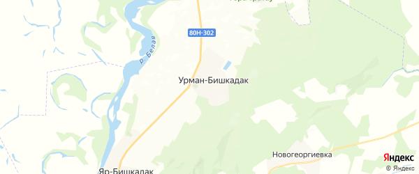 Карта Урмана-Бишкадакского сельсовета республики Башкортостан с районами, улицами и номерами домов