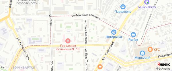 Улица Льва Толстого на карте Уфы с номерами домов
