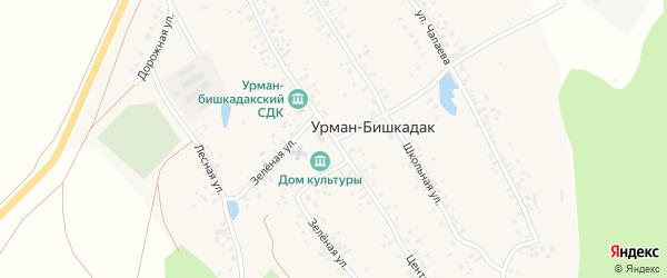 Центральная улица на карте села Урмана-Бишкадака с номерами домов