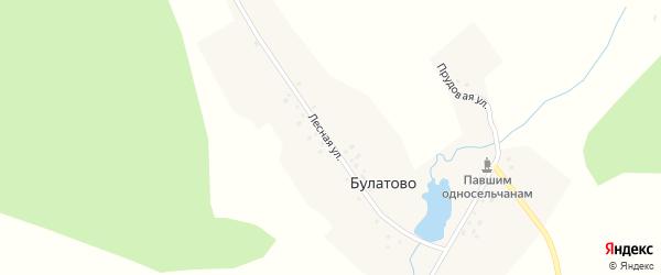 Прудовая улица на карте деревни Булатово с номерами домов