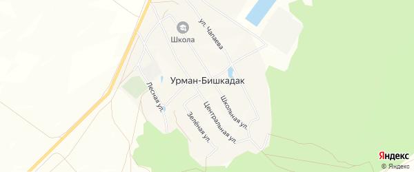 Карта села Урмана-Бишкадака в Башкортостане с улицами и номерами домов